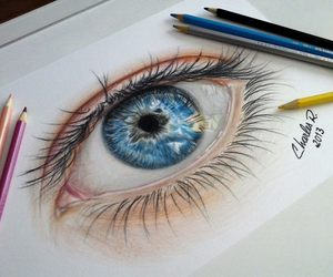 blue eye, charles ramos, and coloured pencils drawing image