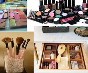 Brushes, makeup, and organized image