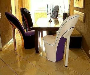 chair, heels, and dinning room image