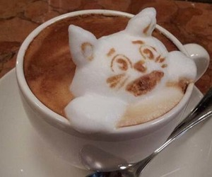 art, coffe, and cat image