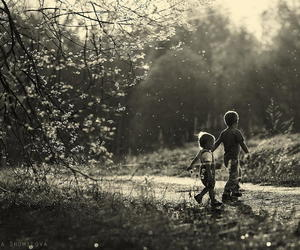 black and white, kids, and nature image