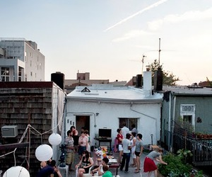 party, friends, and roof image