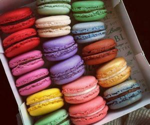 colourfull, macarons, and food image