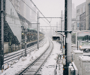 snow, city, and japan image