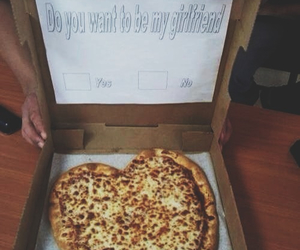food, girlfriend, and pizza image