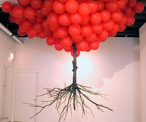 balloons, tree, and art image