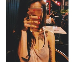girl, tattoo, and beer image
