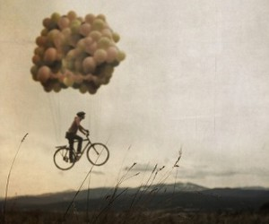 balloons, bike, and fly image