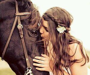 horse, girl, and kiss image
