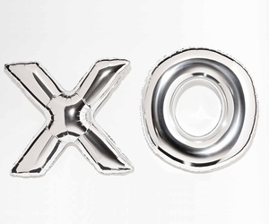 balloons, silver, and xo image