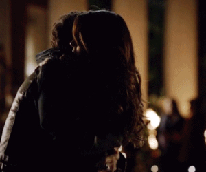 damon, elena, and hug image