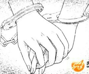 anime, hand cuff, and couple image