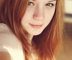 cute girl, redhead, and eyes image