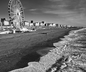 beach, blackandwhite, and brighton image