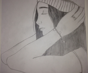 drawing, girl, and loneliness image