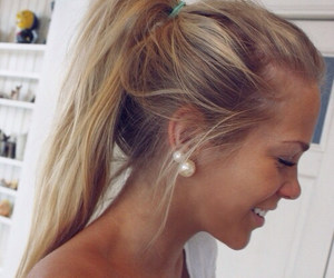 blond hair, earrings, and summer image
