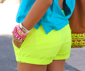 fashion, neon, and shorts image