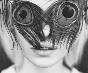 eyes, peacock, and black and white image