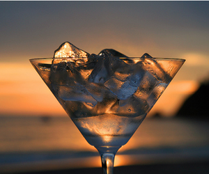 drink, ice, and sunset image