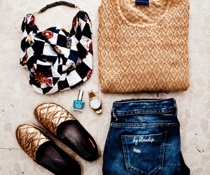 denim, gold, and look image