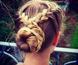 blonde, braided, and brunette image