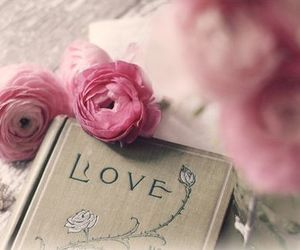 love, book, and flowers image