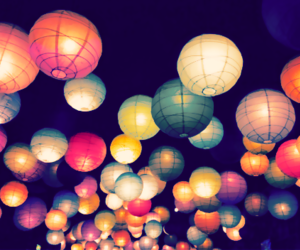 colourful, lanterns, and bright night image