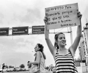 black and white, girls, and protest image