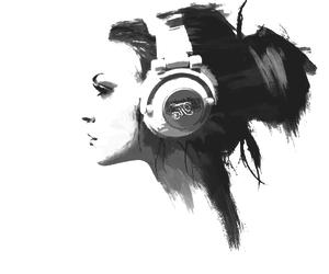 girl, headphone, and music image