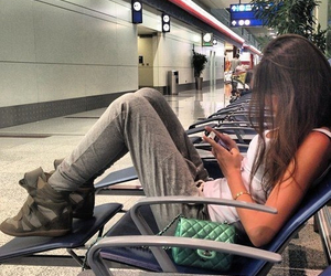 girl, style, and airport image