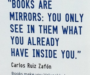 book, quote, and mirror image