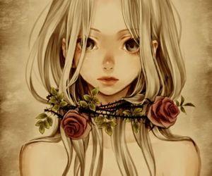 anime, rose, and anime girl image