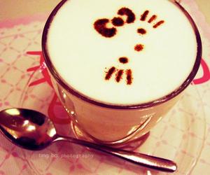 hello kitty, coffee, and kitty image