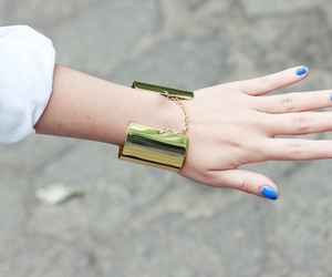 blue, fashion, and gold image