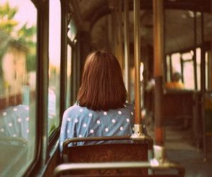 girl, vintage, and bus image