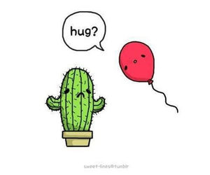 hug, cactus, and balloon image