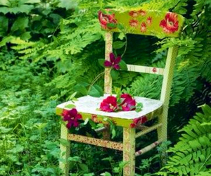 flower, green nature, and flower chair image