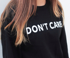 girl, don't care, and black image