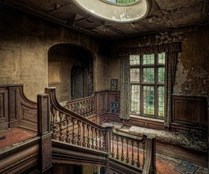 old, house, and stairs image