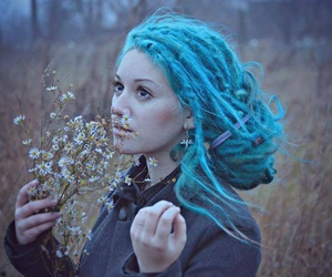 blue, dreads, and dreadlocks image