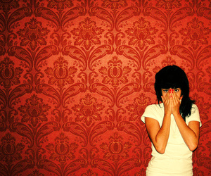 girl, red, and wallpaper image
