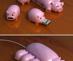 piglets, pink, and usb image