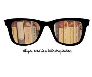 book, imagination, and glasses image
