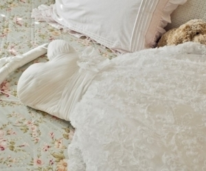 bed, flowers, and dress image