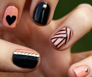 black, pink, and nails image