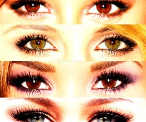 eyes, selena gomez, and miley cyrus image