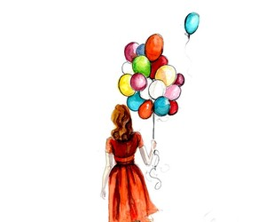 balloons, drawing, and girl image