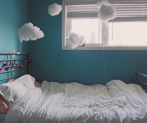 clouds, bed, and bedroom image