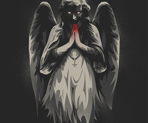 angel, creepy, and black and white image