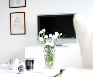 white, flowers, and black image